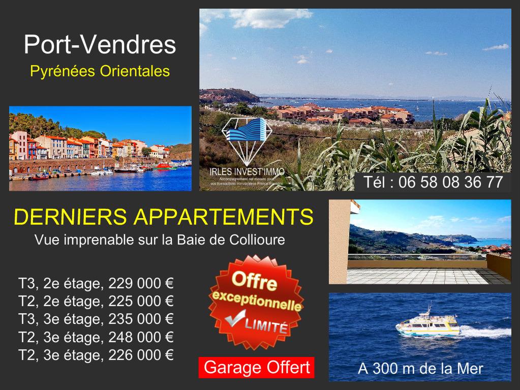 Port Vendres, appartements avec belle vue sur la Baie de Collioure