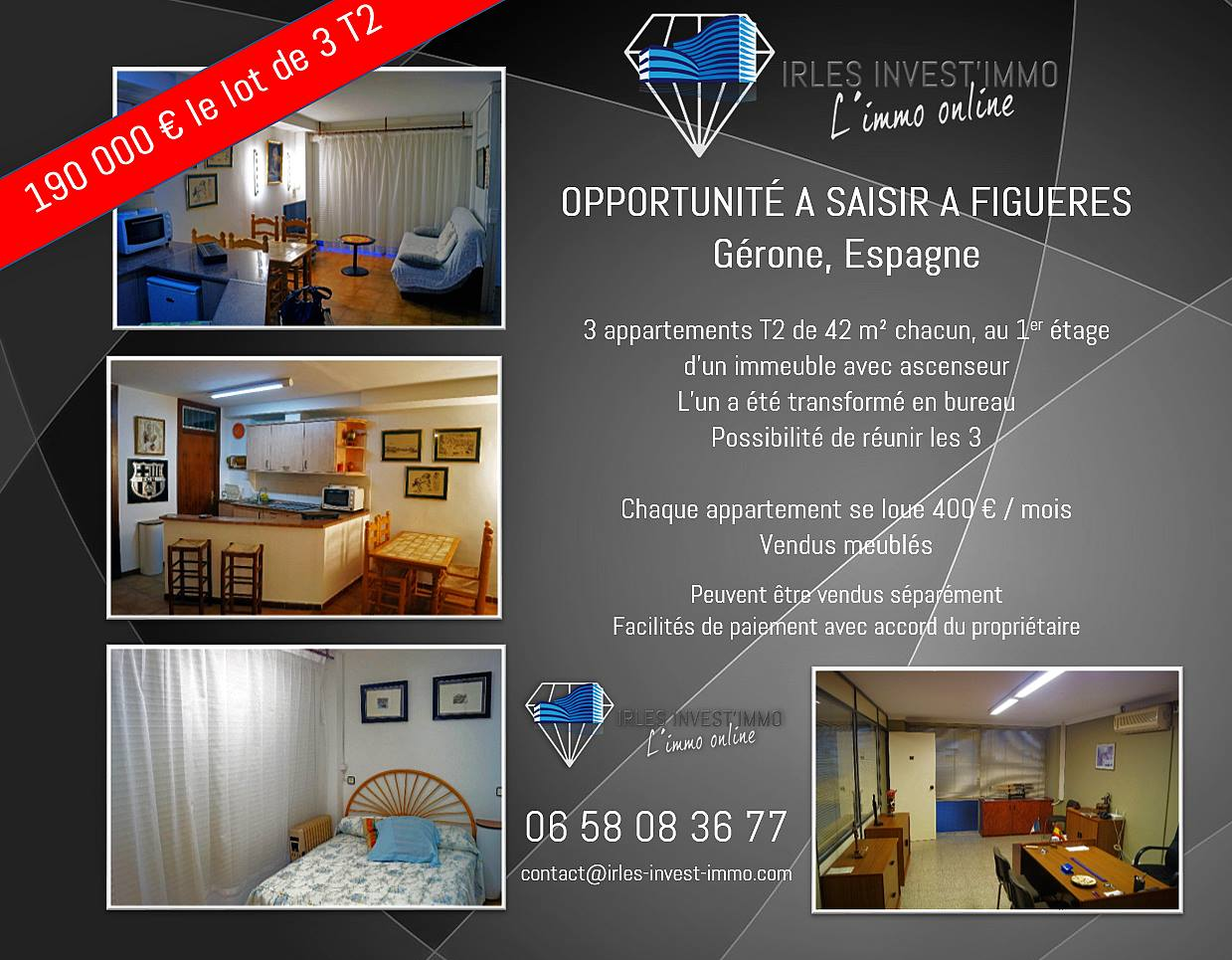 A Figueres, Lot de 3 Appartements avec option Location-Vente