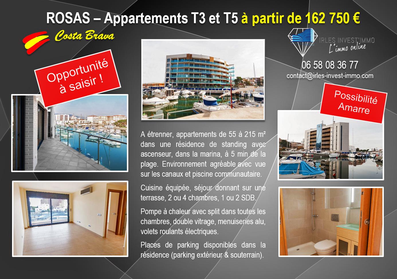ROSES, Appartements T3 et T5 avec Vue sur les Canaux