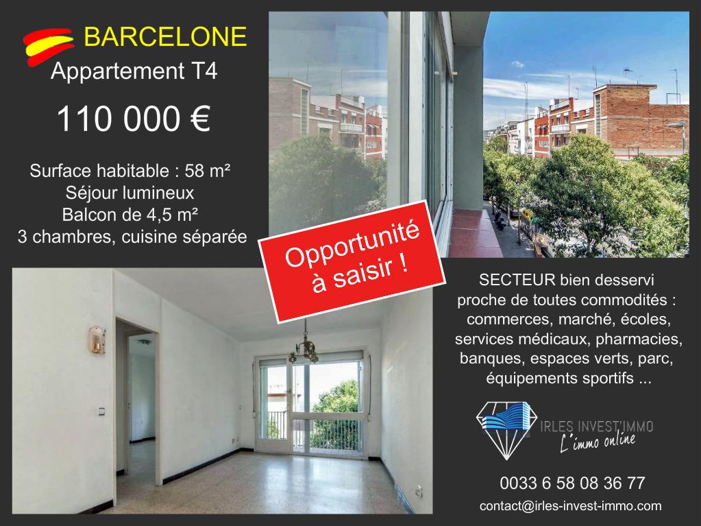 Barcelone – Appartement T4 à saisir !