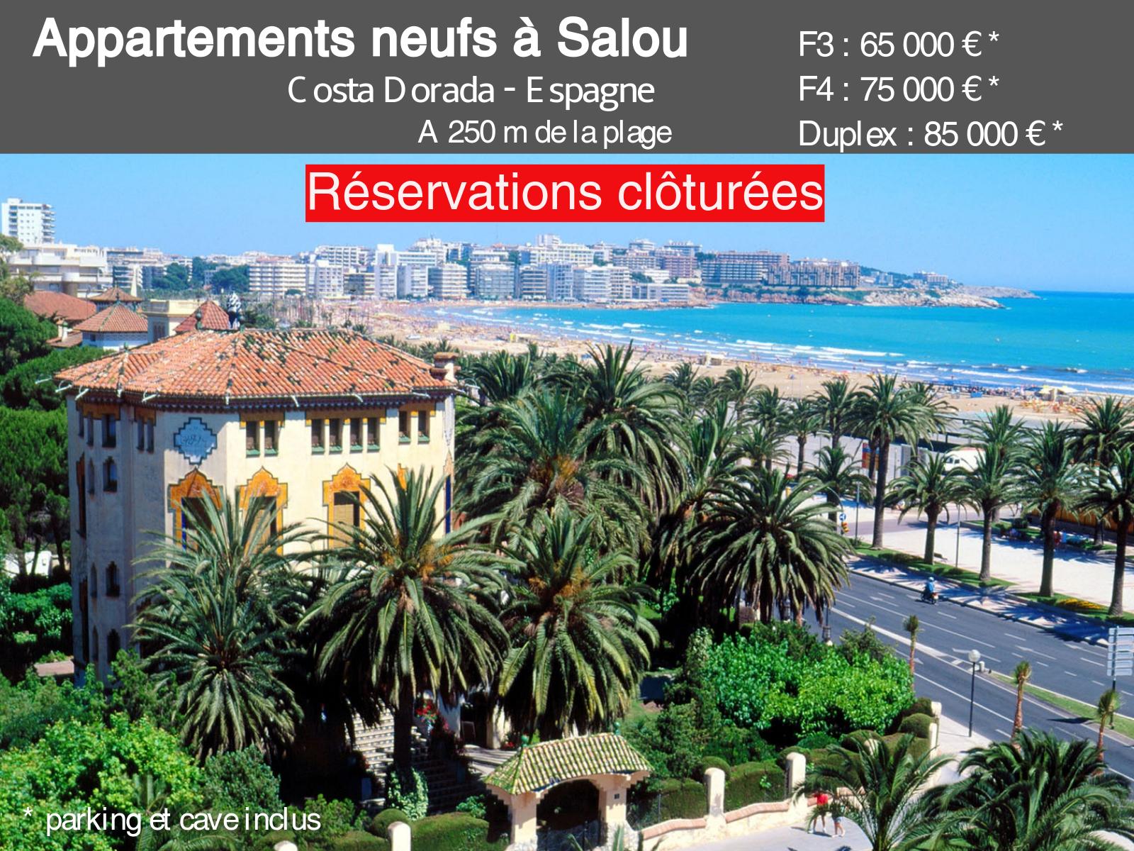 Nuevos pisos en Salou, a 250 m de las playas.